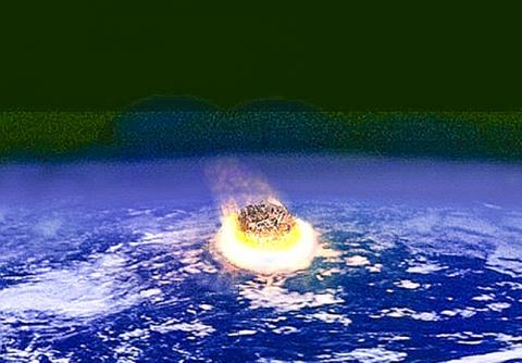 소행성이 지구에 충돌하는 모습 상상도. 지름이 수Km에 불과한 소행성도 지구와 충돌하면 핵폭탄 수백만 개의 위력을 발휘하는 것으로 알려진다. 소행성 충돌과 화산 폭발이 지구생명체의 멸종을 촉발했다는 심증은 있으나 아직 명확한 인과관계가 나오지는 않았다.  ⓒ Wikimedia Commons / Federik