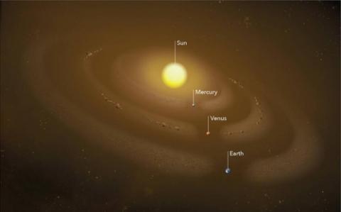 금성 궤도의 먼지 고리에 숨어있는 소행성 상상도  ⓒNASA 고다드 우주비행센터 / 연합뉴스