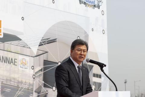 폐촉매 재활용 공장 착공식에서 한국지질자원연구원 김복철 원장이 연설을 하고 있다. ⓒ한국지질자원연구원