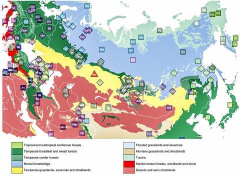 동석기시대 보타이 시기의 새로 표본 수집된 개인들이 포함된 그룹과 전에 발표된 자료에 있는 그룹들의 지리적 위치. 지도에는 14개 생물군으로 나눠어진 생태지리정보를 겹쳐서 표시했다. 이 정보는 https://ecoregions2017.appspot.com/ (credited to Ecoregions 2017 © Resolve)으로부터 내려받았다.  CREDIT: Jeong & Balanovsky et. al. 2019. The genetic history of admixture across inner Eurasia. Nature Ecology & Evolution, http://dx.doi.org/10.1038/s41559-019-0878-2.