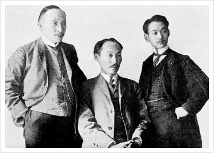 이준(왼쪽), 이위종(오른쪽)과 함께 헤이그 특사로 파견된 이상설 선생(가운데). 그는 우리나라 최초의 근대 수학 교과서를 편찬한 당대 최고의 수학자였다. ⓒ public domain