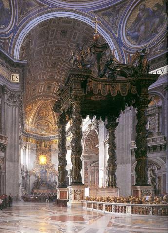 성 베드로 대성당 내부에 있는 베드로 묘소 덮개 (St. Peter's Baldachin).