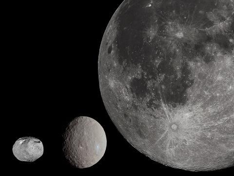 베스타, 케레스, 달의 상대적 크기 비교 ⓒ위키백과