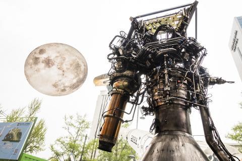 이번 '2019 대한민국 과학축제' 행사 기간동안 시민들로부터 큰 관심을 불러일으킨 로켓용 75톤급 대형 액체 엔진.   한국형 발사체(KSLV-2) 누리호에 장