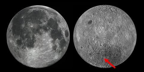달 뒷면(右)의 창어 4호 착륙 지점 ⓒNASA