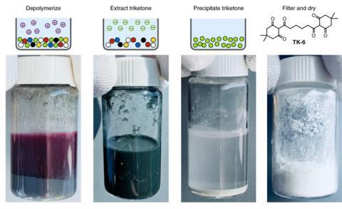 기존의 플라스틱과는 달리, PDK 플라스틱은 높은 산에 넣으면 단량체로 분리된다. ⓒ 로렌스버클리 연구소