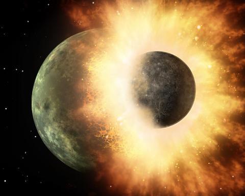 달의 형성을 보여주는 '거대충돌이론'의 상상화