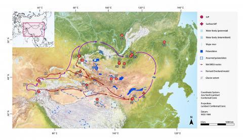 최소 비용 경로분석(Least Cost Path analysis) 결과 도출된 여러 분산 경로 도해. '습한' 환경에서의 3개 루트와 '건조한' 환경에서의 한 개 루트가 고기후 범위(빙하 및 옛 호수)와 함께 표시했다.  CREDIT: Nils Vanwezer and Hans Sell