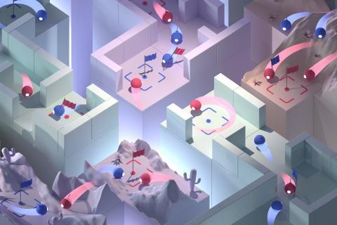 구글 자회사 딥마인드에서 개발한 '캡쳐 더 플래그(Capture the flag)'의 한 장면. '퀘이크 III'와 같은 3차원 비디오 게임으로 이를 통해 인공지능이 사람과 협력해 게임을 수행할 수 있다는 것이 확인되고 있다. ⓒDeepMind