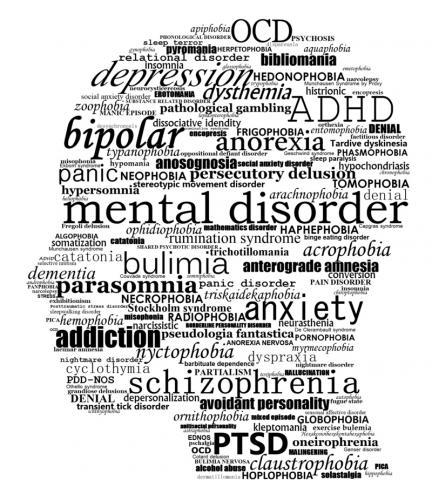 뇌와 관련된 병적 상태도 다른 부위 못지 않게 많다. 인간의 정신 및 기분 장애 병명으로 머리 모양을 구성했다.   CREDIT: Wikimedia / Paget Michael Creelman