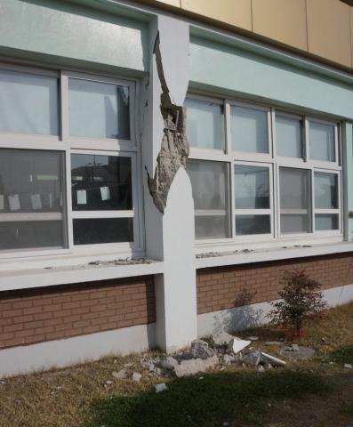 2017년 포항지진 피해를 입은 흥해초등학교 ⓒ기상청
