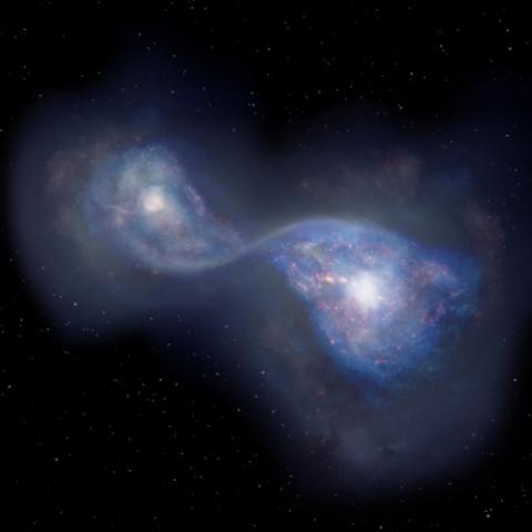 130억 광년 떨어진 곳에서 합체 중인 은하 B14-65666 상상도  ⓒ 일본국립천문대 / 연합뉴스