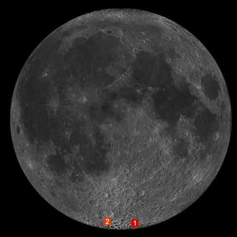 찬드라얀 2호 달 착륙 예정지, 숫자는 우선순위를 뜻한다. ⓒNASA/ASU