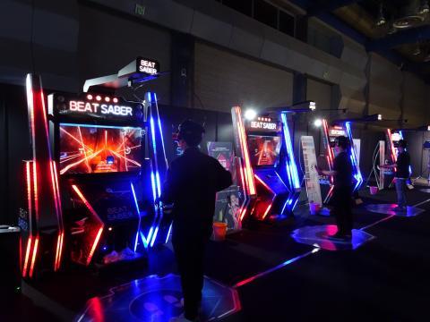 스코넥 엔터테인먼트는 글로벌 VR 리듬액션 게임 '비트세이버 아케이드'를 전시회 전면에 내세웠다.  ⓒ 김은영/ ScienceTimes