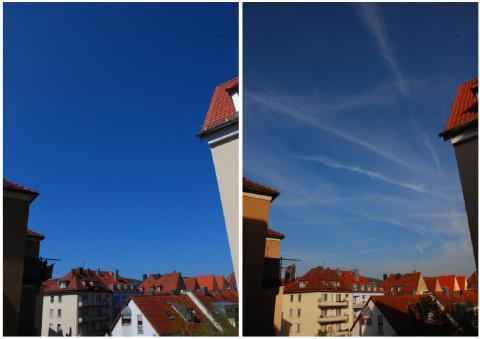 독일 바이에른 주 뷔르츠부르크에서 찍은 사진. 비행기가 만든 항공운(오른쪽)과 평소 하늘(왼쪽)이 크게 비교된다. ⓒ 위키피디아