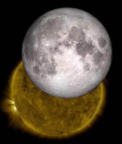 인간이 달에 착륙한지 50년이 지난 지금 과학자들은 달 극지에 있는 분화구에 묻혀 있는 얼음을 채굴하는 일에 몰두하고 있다. 사진은 태양 앞에 위치한 달의 모습. ⓒNASA