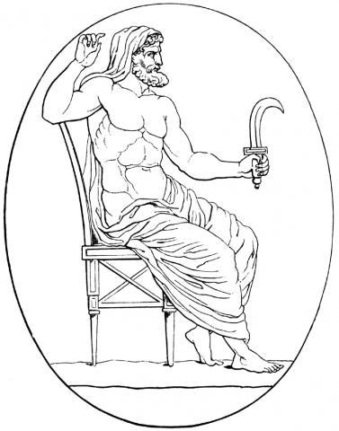 토성에 해당하는 크로누스/사투르누스는 낫을 든 신으로 묘사된다.  ⓒ 위키백과