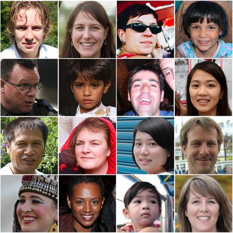 이 사진 중에 절반은 AI가 만든 가짜 얼굴이다. © WhichFaceIsReal