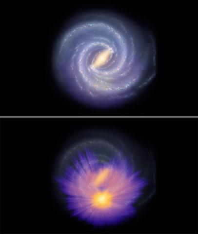 (上) 기존 은하계 상상도, (下) 새로운 3차원 은하계 지도를 오버랩시킨 모습 © ESA