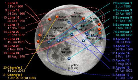 달 연착륙에 성공한 탐사선 위치 © Wikimedia Commons