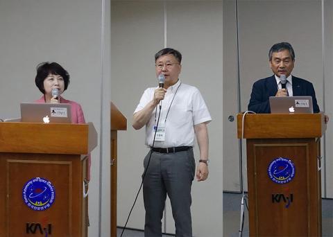 (좌측부터) 부하령 여성과학기술인회 명예회장, 이형목 천문연 원장, 임철호 항우연 원장 © 심창섭/ScienceTimes