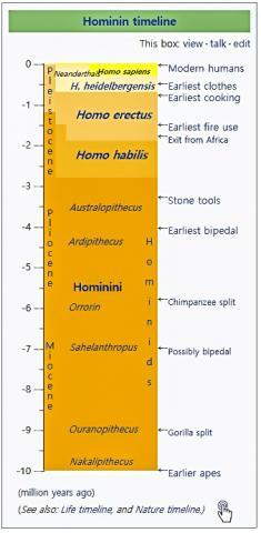고인류(hominin) 출현 시기 Credit: Wikimedia