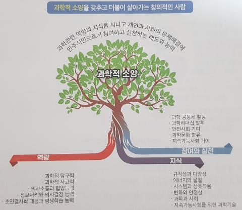 """송진웅 교수는 미래세대 과학교육이 추구하는 인간상을 """"과학적 소양을 갖추고 더불어 살아가는 창의적인 사람""""으로 정의하며 과학적 소양 나무(ToSl: Tree of Scientific Literacy) 라는 개념을 소개했다. 이는 뿌리가 서로 뒤엉키면서 풍성하게 성장하는 나무의 모습으로서, 미래세대 과학교육표준이 지향하는 과학적 소양의 특징을 직관적으로 나타내는 것이다. Ⓒ 한국과학창의재단"""