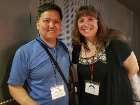 (사진 왼쪽부터) 박호걸 포디 수리과학 창의연구소장과 신디 로렌스(Cindy Lawrence) 뉴욕 국립수학박물관(MoMath) 관장. ⓒ (주)포디랜드