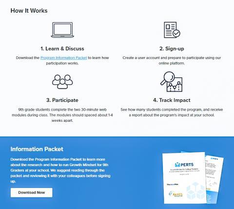 온라인 성장 마인드 프로그램 활용법을 소개한 그림.  홈페이지 캡처.  Credit: PERTS
