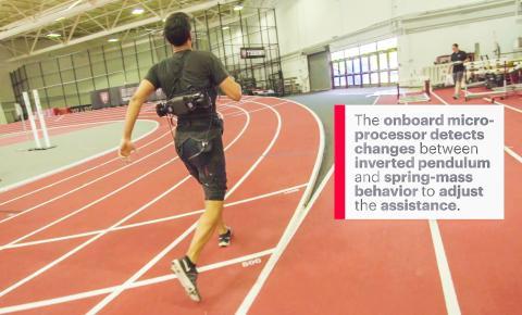 3.기기에 장착된 마이크로프로세서가 반전된 시계추와 스프링 질량 행동 사이의 변화를 감지해 보조력을 조절한다.  Credit: Wyss Institute at Harvard University
