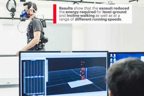 실험 조사 결과 엑소수트는 서로 다른 주행 속도 범위에서는 물론 평지와 경사진 길의 보행에서 소비되는 에너지를 감축시키는 것으로 나타났다.  Credit: Wyss Institute at Harvard University