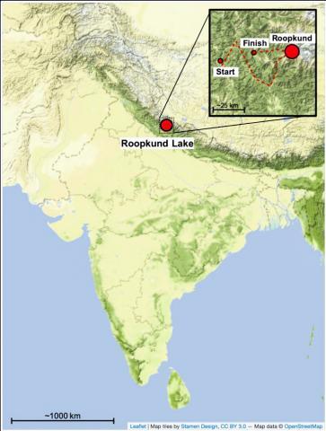 난다 데비 라즈 자트(Nanda Devi Raj Jat) 순례 경로와 함께 히말라야의 루프쿤드 호수 위치를 나타내는 지도.  CREDIT: modified from Harney et al., Ancient DNA from the skeletons of Roopkund Lake reveals Mediterranean migrants in India, Nature communications, https://doi.org/10.1038/s41467-019-11357-9