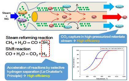 천연가스 개질 반응 과정에서 팔라듐 분리막을 적용한 효과 ⓒ 한국에너지기술연구원