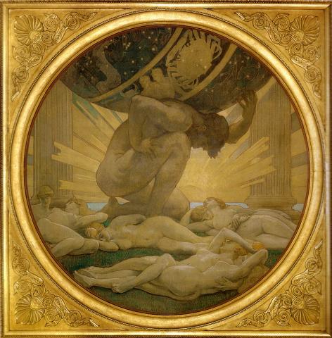 아틀라스와 헤스페리데스(아틀란티데스). 싱거 사전트 그림.  ⓒ 위키백과