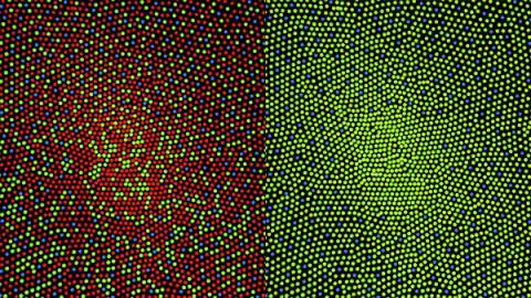 사람의 눈 시신경 광수용체 안에 분포돼 있는 600만개의 추체(cones) 들을 모자이크 형상화한 영상. 최근 과학자들이 망막 안에 있는 세포 분석을 통해 시력 강화와 저하의 원인을 밝혀내고 있다. ⓒWikipedia