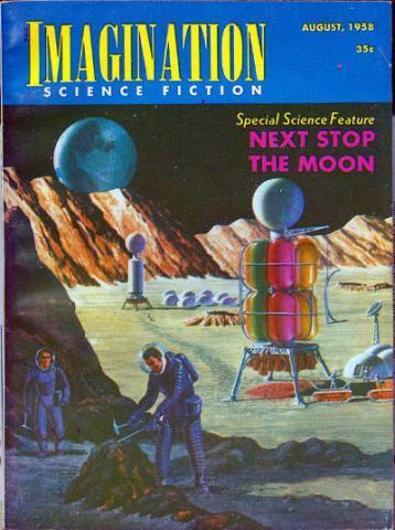 SF 소설이 최근 우주 및 무기, 신상품을 개발하는데 탁월한 예지 능력을 제공하고 있다. 사진은 1958년 SF 전문잡지 '이매지네이션(Imagination)' 표지에 실린 인류의 달 탐사 장면. 한 우주인이 광물을 채굴하는 모습을 보이고 있다. ⓒWikipedia