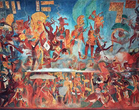 '보남팍(Bonampak)' 유적지에서 발견된 벽화에 그려진 마야인들의 전투 장면 복원도. © El Comandante / Wikimedia Commons