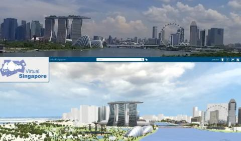 실제 싱가포르 도시(상)와 이를 가상 공간에 그대로 옮겨 놓은 버추얼 싱가포르(하) Singapore) 플랫폼 ⓒ Virtual Singapore