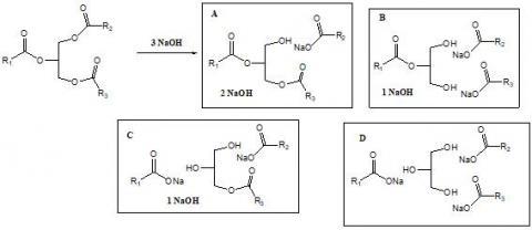 비누화 반응에서 4 종류의 생성물 세트 (A, B, C, D)가 생길 수 있다. 비누화 반응 (가수분해 반응)이 완결되어 거의 모두 D가 되면 제대로 된 순한 비누가 되지만, A, B, C (물에 잘 안 녹음)가 많이 섞이면, 가성소다가 남아 거친 비누가 된다. ⓒ 전동주