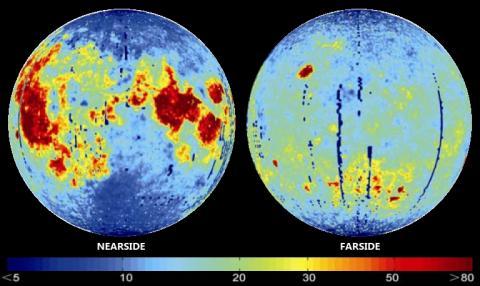 달 표면의 헬륨-3 분포 양상 ⓒPublic Domain