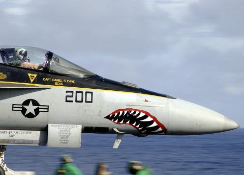 상어 눈과 입을 그려넣은 미 해군의 F/A-18 전투기. 과학적으로 따져 봤을 때 이는 공격성의 표현보다는 오히려 방어 목적일 가능성이 크다. ⒸUS NAVY