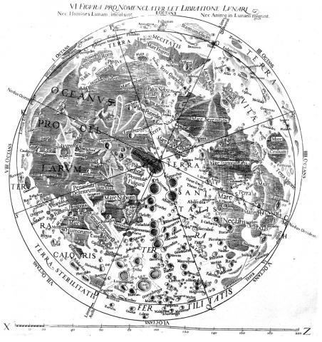 리치올리의 책 신 알마게스트에 담긴 달 지도  ⓒ 위키미디어