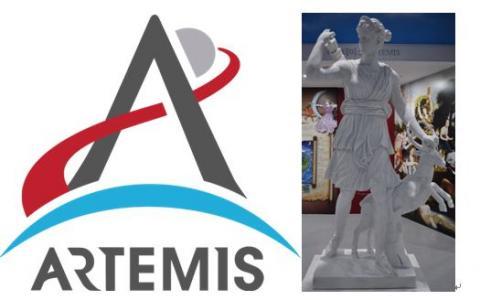 아르테미스 프로그램 로고(왼쪽) 및 아르테미스 여신 ⓒ 위키백과, 박지욱