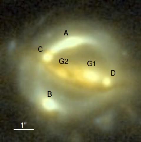 B1608 퀘이사 중력렌즈로 찍은 사진.  A,B,C,D가 렌즈로 인해 여러 개의 상이 맺힌 퀘이사이고 G1과 G2는 렌즈 은하이다. Ⓒ  ESA/Hubble/NASA/Suyu et al