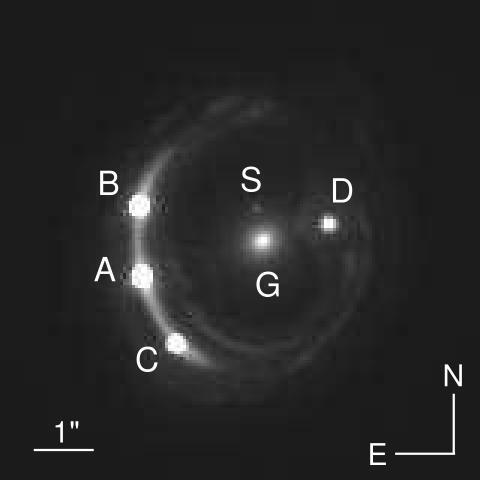 RXJ1131 퀘이사 중력렌즈. A,B,C,D가 하나의 퀘이사가 은하로 인해 여러 개의 상을 맺은 것이고, G는 타원은하, S는 위성 은하이다.  ⓒ_Jee Et al