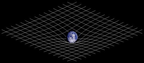 시공간의 곡률을 설명하는 기본 그림. ⓒ 위키피디아