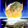 소행성 충돌 모습을 그린 상상도. 이 그림은 과학자들이 6600만년 전 실제 지구에 충돌했다고 생각하는 직경 6마일짜리 소행성보다 훨씬 크게 그렸으나, 소행성 암석이 충돌로 압축되고 진공상태가 되면서 열이 발생하는 모습을 잘 묘사했다.