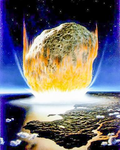 소행성 충돌 모습을 그린 상상도. 이 그림은 과학자들이 6600만년 전 실제 지구에 충돌했다고 생각하는 직경 6마일짜리 소행성보다 훨씬 크게 그렸으나, 소행성 암석이 충돌로 압축되고 진공상태가 되면서 열이 발생하는 모습을 잘 묘사했다.   CREDIT: NASA/Don Davis