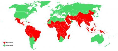 미국 질병통제예방센터(CDC)가 2003년 기준으로 말라리아 발생 지역을 표시한 자료. 빨간색으로 표시된 곳이 말라리아 발생 위험이 높은 지역이다.  © public domain