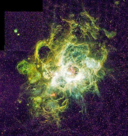 허블우주망원경이 촬영한 거대 성운인 NGC604에서 새로운 별이 탄생하고 있는 모습. 삼각형자리 성좌로부터 270만 광년 떨어진 M33 나선 은하 근방에 있다.  Credit: NASA, Hui Yang University of Illinois ODNursery of New Stars